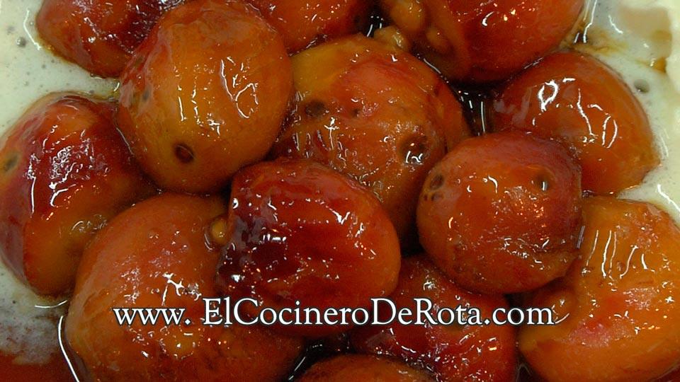 Fruta desconocida flameada