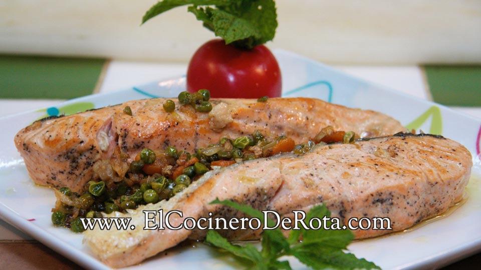 Salmon con guarnición - El Cocinero de Rota