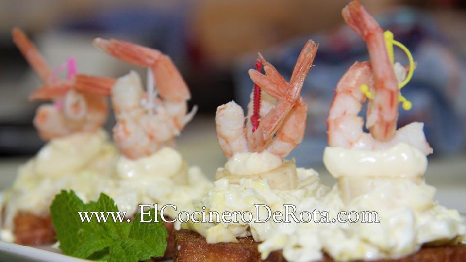 Montadito de Alioli con Gambas - El Cocinero de Rota